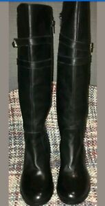 LEGROOM BLACK KNEE HIGH BOOTS UK 4 WITH GOLD TRIM ON THE HEEL AND GOLD BUCKLES