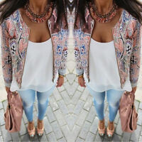 New Womens Long Sleeve Round Neck Printed Zipper Casual Jacket Coat Blazer Suit