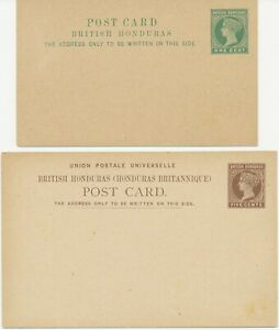 BRITISH HONDURAS 1889/98 QV 4 different VF/superb unused postal stationery pc's