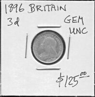 GREAT BRITAIN - FANTASTIC HISTORICAL QV SILVER THREE PENCE, 1896, KM# 777