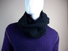 Demobaza Knit Snood Black Ribbed Merino Wool New NWT Scarf Gloves Charcoal Gray