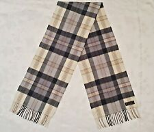 GERMANY VINTAGE AUTHENTIC WHITE BLUE PLAIDS LAMBSWOOL LONG MEN'S FRINGE SCARF