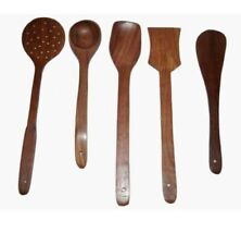New listing Wooden Cooking & Seving Laddle / spatula / Non Stick Cooking Spoons Set Of 5 Pcs