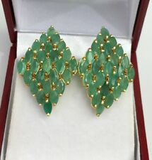 14k Solid Yellow Gold Diamond Shape Omega Back Earrings, Natural Emerald 6.12 Gr