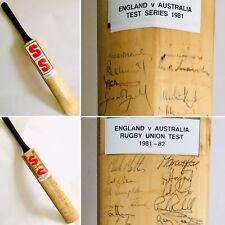 Signed Bat 75 Autographs! England v Australia Test Cricket & Rugby Union 1981-82