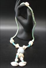 Schmuck Halskette Holzkette Türkis Muschel 60cm #74