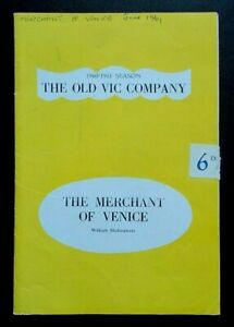 The Merchant Of Venice programme Old Vic Theatre 1961 Michael Meacham Harris wr
