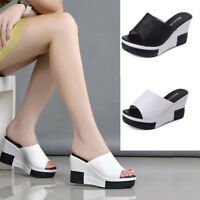 Womens Ladies Mid High Wedge Cut Out Mules Platform Sandals Flip Flops Size