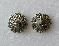 Vintage Marcasite Flower Silver Tone Pierced Stud Earrings