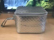 Clinique Silver Checkerboard Weave Train Case Cosmetic Bag wristlet handle