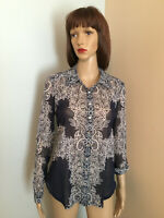 INC INTERNATIONAL CONCEPTS Sz M Navy Lace Look Mesh Button Down TOP BLOUSE