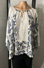 Free People Tunic Top Size Large L Blue Floral Lace Loose Sleeves Boho Gypsy