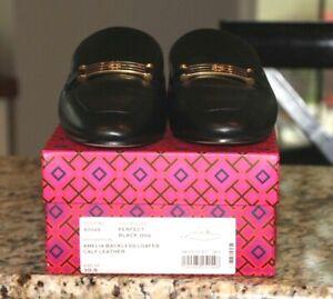 TORY BURCH  BLACK Leather AMELIA Loafer Mule Slip On Shoe Sz 10.5 M NEW