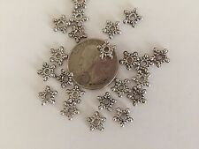 125 Antique Silver Plate Bali Style 10mm Beaded 5 Point Star Metal Spacer Beads