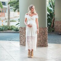 Pregnant Women Off Shoulder Lace Long Maxi Dress Nursing Maternity Photography