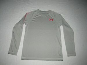 Under Armour Boy's Gray Heat Gear Gray Loose Long Sleeve Shirt Youth Size S