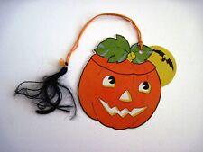 "Vintage ""Halloween"" Bridge Tally w/ Pumpkin and Bat *"