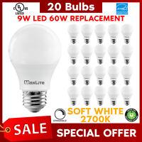 Lot Of 20 Maxlite 9w LED Bulb 60 watt replace A19 Soft White 2700K LED Light 60w