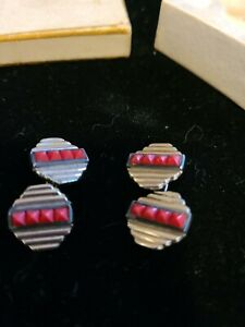 CUFFLINKS Pair small DECO style Cuff Links. Red and silver colored.        AJ49