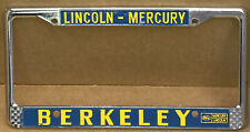 """RARE 1988 NOS LINCOLN-MERCURY( BERKELEY CA)"""" BERKELEY FORD """"LICENSE PLATE FRAME"""