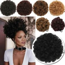 THICK Afro Bun Ponytail Kinky Curly Puff Drawstring as human Hair Extensions