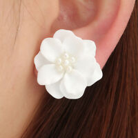 Beads Jewelry Elegant Big White Flower Simulated Pearl Stud Earrings Camellia