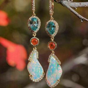 Noble Women 18K Rose Gold Filled Opal Aquamarine Long Ear Hook Dangle Earrings