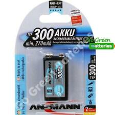 1 x Ansmann 9V PP3 300 mAh NiMH Rechargeable Battery Stay Charged 9 Volt HR22