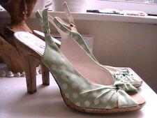 Womens Shoe heels spots spotty green white cork heel shoes size size 6 peep toe