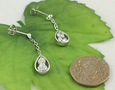 AE3359 Solid 925 Sterling Silver White Cubic Zirconia CZ Set Chain Drop Earrings
