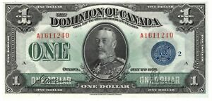 Dominion of Canada UNC $1 Dollar 1923 P-33h DC-25h Blue Seal McCavour Banknote