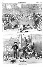 Foot Ball at Rugby  - School Players in Action - Football -1870 Antique Print