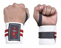 4Fit Power Weight Lifting Wrist Wraps Supports Gym Training Fist Straps B/&W