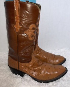 Lucchese Size 10 D Two Tone Full Quill Ostrich Western Cowboy Boot Handmade