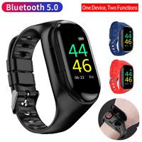 2-In-1 Smart Watch with TWS Earbuds Fitness True Wireless Sports Headphone BT5.0