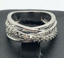 Sterling Silver 925 Dotted CZ Accent X Overlap Wide Split Cocktail Band Ring 7