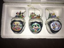 Disney Mickey & Minnie Mouse Christmas Sleigh Bells Ornaments Ashton-Drake