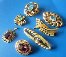 """ANTIQUE GOLD PLATED JEWELRY JEWELS LOT DE BIJOUX ANCIENS PLAQUE OR ET """"PIERRES"""""""