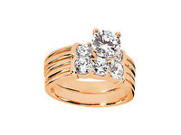 Natural 0.90Ct Round Cut Diamond Engagement Ring Wedding Band Set Solid 10k Gold