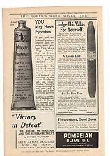 1916 Forhan's Pyorrhea Preparation, JRW Cuban Cigar, Pompein Oil Advertisement