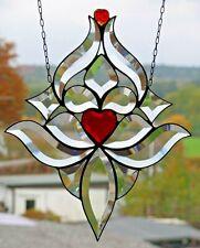 Bleiverglasung Fensterbild Facettenbild mit Herz + Herzchen  in Tiffany