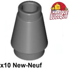 Lego - 10 Cone 1x1 with Top Groove Dark Grey/Dark Bluish Gray 4589b New