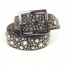 Unbranded Bling Belt Size Large Black Leather Lining Silvertone Buckle