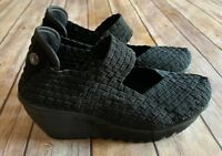 BERNIE MEV LULIA WEDGE MARY JANE SHOES HEELS BLACK WOVEN SIZE 36 6