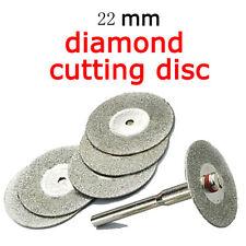 Lots 5PCS 22mm Emery Diamond cutting blades Drill Bit+1 Mandrel