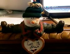 "Ceramic Snowman Shelf Sitter Holiday Decorative Winter Christmas 6""W"