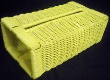 Bright Yellow Wicker Tissue Box Cover Open Ended Box Slides In & Out Excellent