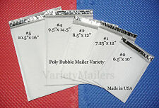 10 Poly Bubble Envelope Variety Pack ~ 5 sizes ~ Self-Sealing & Made in the USA!
