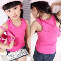 Kids Girl Boy Soft Sleeveless Casual Strap Vest Tank T-shirt Tee Tops camisole