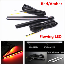 2x Red/Amber Switchback Flowing LED Car DRL Brake Stop Turn Signal Light Strips